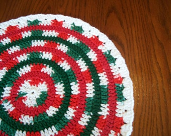 Christmas Mandala, For Table Top, Centerpiece, Red, Green & White, Crocheted Cotton Yarn, Table Runner, Table Topper, Doily