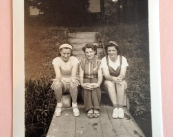 Vintage Photo Three Girl Friends Greeting Card and Envelope
