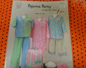 Pajama Party by Cindy Taylor Oates Misses Pajama and Nightshirt Pattern Sizes S-XX: UNCUT