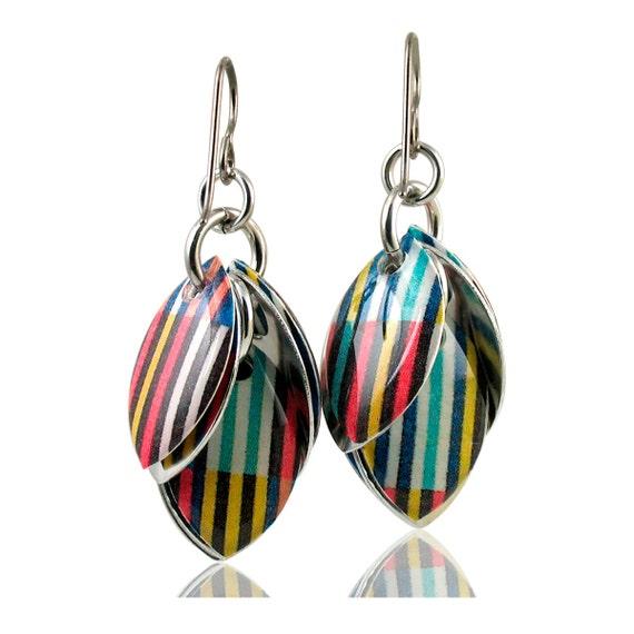 Custom Handcrafted Summer Stripes Everyday Dangle Earrings