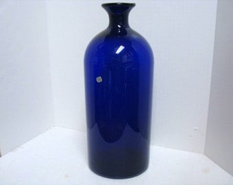 Vintage Huge Kastrup Holmegaard Danish Cobalt Blue Glass Vase Bottle w/ Sticker Mid Century Glass Floor Vase Denmark