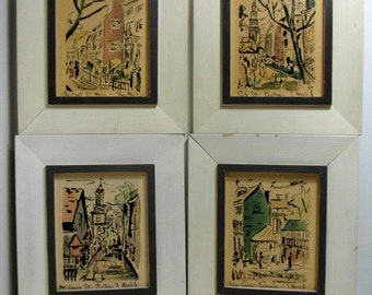 Vintage Thomas Meek Jr. Prints Set of 4 Mid Century in Period Frames Boston Louisiana St. Mass.