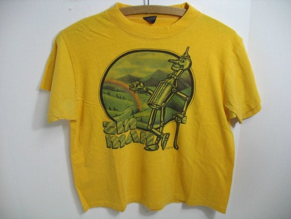 Vintage Tin Man T-Shirt, Yellow 1980s Wizard of Oz Shirt