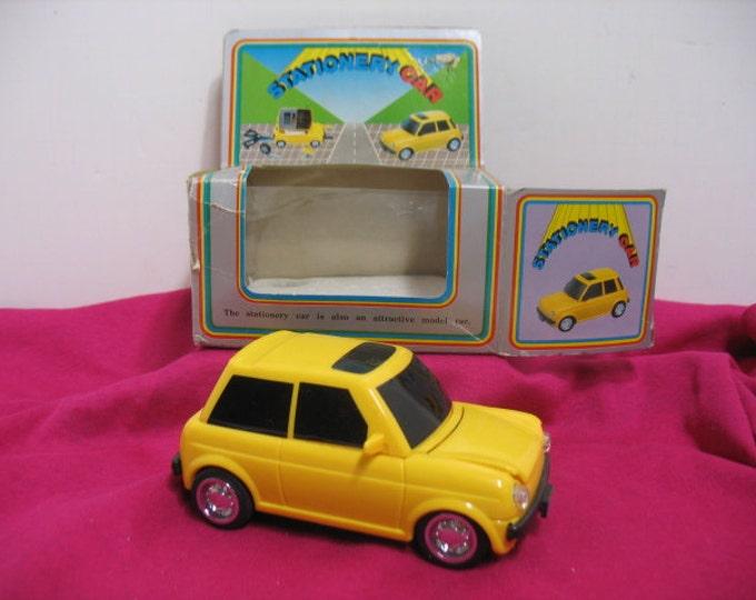 Vintage Stationary Car, Desk Organizer Automobile in Box, School Office Storage, Pencil Note Pad Scissors Holder, Shop Mechanic Teacher