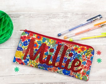 Name Pencil Case - personalised - Liberty - glitter - zip pouch - school supplies - stationery - red floral - personalized gift for friend