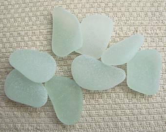 8 Pendant / Charm Size Seaglass Gems (SG1907) Mediterranean Sea glass, Rich and Pastel Blue Green, Sea foam,Beach Glass