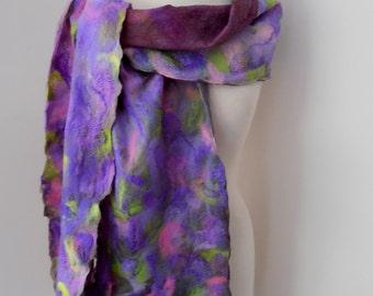 Nuno felted Merino Silk scarf wrap by plumfish purple green