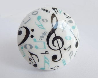 Music Note Knob, Musical Drawer Knob, Music Knob, Music Notes Drawer pulls- Colors Customizable - 1.5 inch size- Price is for 1 knob