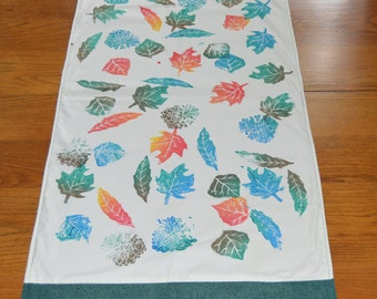 Handprinted Color Leaf Table Runner, Home Decor, Linocut, Block Printed, Table Linens