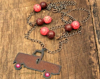 Rustic Truck Necklace with Pink Rhinestone Wheels and Magnesite Beads brown antique copper country farm girl pickup