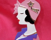 SALE - Vintage Flapper Woman Brooch