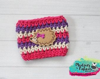 Coffee Cozy Crochet { Hedgehog Cozy } magenta purple cream cozie sleeve, mug sweater, purple ,pink, orange, fall thanksgiving, planner girl