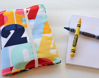 Ready to Ship . Crayon Wallet . 8 Crayons and Notepad Included . Numbers . Birthday Party Favor or Gift . Valentine's Day Gift . Art Party
