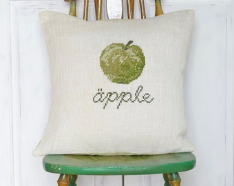 Needlepoint pattern APPLE - green,cross stitch pattern,Scandinavian,burlap,hessian,burlap pillow cover,embroidery,diy,Anette Eriksson