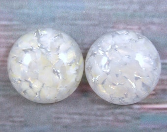 Sparkling White Opal Glass Cabochons, 18MM Round, 2