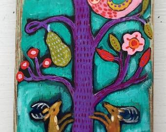 Folk Art Deer Painting on Wood