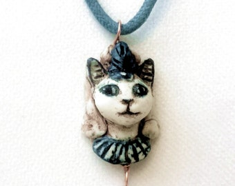 Royal Cat Head Bead - Handmade Egyptian Kitty Charm