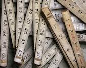 Salvaged Wooden Folding Rulers- Craft Supply- Ruler Parts- Vintage Measurement