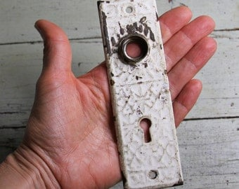 Vintage Escutcheon Plate -Worn with white chipped paint- Door Plate- Salvaged Hardware