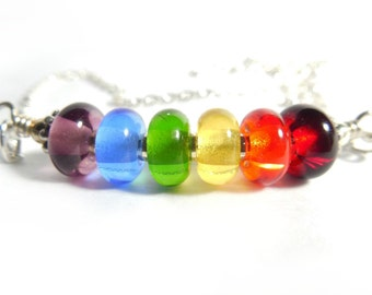 Rainbow Necklace, Handmade, Colorful, Lampwork, Glass, Prism, Necklace, GLBT, Pride