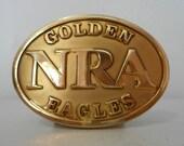 Distressed NRA Golden Eagles Belt Buckle National Rifle Association Gold Color