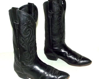 Mens Size 10 D Cowboy Boots Distressed Justin Black Leather Country Western Rockabilly