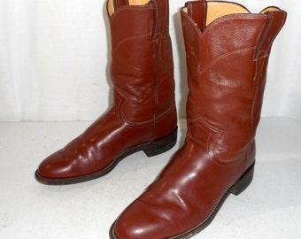 Brown Roper Justin Cowboy boots mens size 7 B Narrow / womens 8 western wear