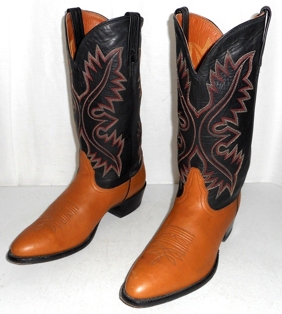 cowboy boots two tone black brown mens size 10 d womens