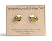 Elf shoe earrings - alder laser cut wood earrings - Christmas earrings
