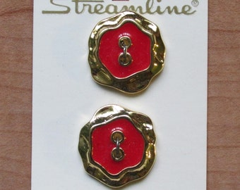 "Vintage Coral Red Medium Size Button, 7/8"" (22mm) wide Round (Additional buttons available) Streamline Bling Gold Glitz"