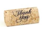 "Custom Printed Wine Cork Place Card Holders - ""Thank You"""