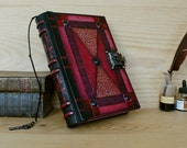"Leather Journal with Lock and Key, Red Leather - ""Blazing Dreams"""