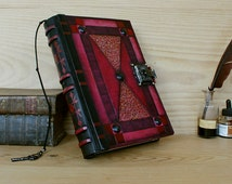 """Leather Journal with Lock and Key, Red Leather - """"Blazing Dreams"""""""