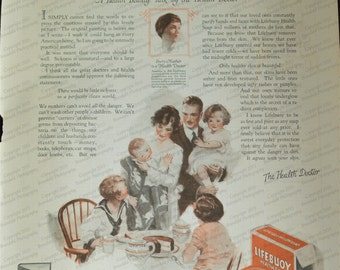 1924 Lifebuoy Soap Ad Sweet Family Image at the Table Vintage Household