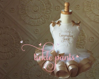 Baptism Christening Tutu Set - White sparkle and champagne gold - Includes embroidered cross top and ruffled tutu - Can be customized