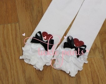 Alice in Wonderland ONEderland RUFFLED Leg warmers to match Alice themed birthdays- Red glitter hearts-  Fits infants and school-age girls