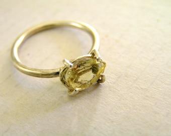 Golden Yellow Beryl Sterling Silver Ring