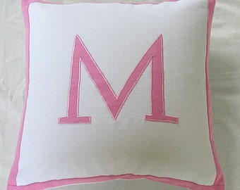 White and baby pink monogram pillow. Decorative nusaery pillow.  Pink initial cushion cover. Personalize Monogram pillow gift pillow 16inch