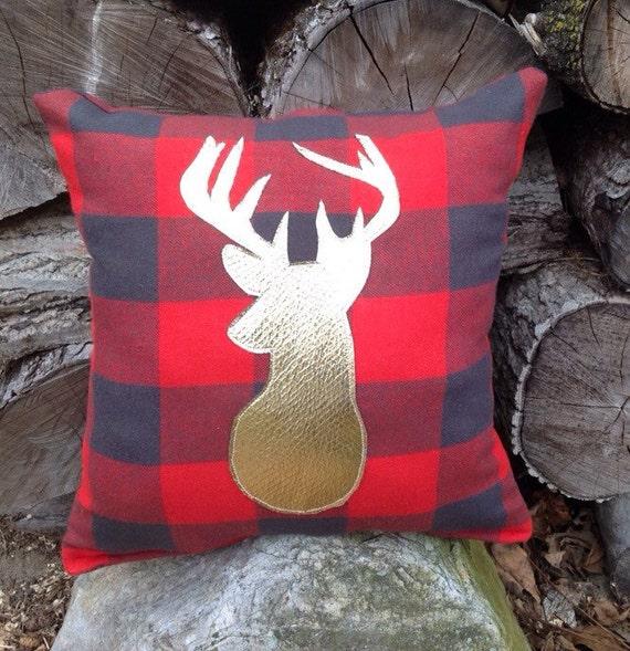 Plush Buffalo Plaid Rug: Buffalo Plaid Pillow Lodge Decor Deer Pillow Gold By