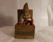 FREE SHIPPING jester tramp art jack in the box mysterious odd interesting intriguing wizard (Vault 25)
