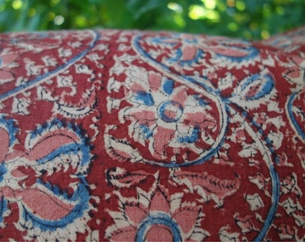 "Block Print Pillow Covers Set Natural Plant Dye Indian Print Indigo Blue Madder Red Pink Floral 2 Vintage Cotton Pillow Covers Lined 18""x18"""
