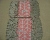 2 New Pink and Gray Whales Baby Girl Burp Cloths with Minky backing