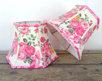 Cabbage Rose Lamp Shade, Lampshade Pink and Green Vintage French Floral Fabric Shade, 7x12x8.5 High, Shabby Chic Shades
