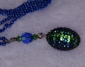 Seahawks bling football necklace - blue