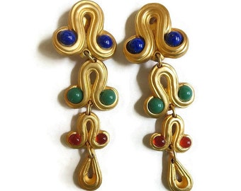 Shoulder Duster Dangle Earrings with Blue, Green and Red Glass Cabochons - Vintage