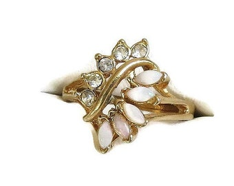 Faux Opal Ring with Clear Rhinestones Vintage Open Work in Size 7.5