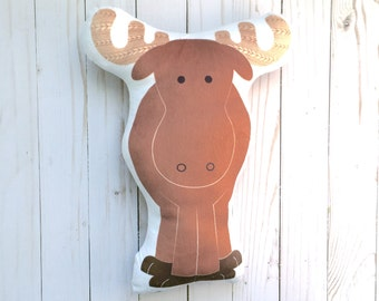 Moose Pillow Plush Stuffed Animal Woodland Crib Bedding Rustic Nursery Decor Handmade Baby Shower Gift Modern Forest Nursery Boys Room