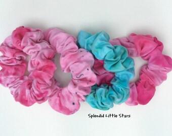 Cotton Scrunchie, tie dye, tie dye scrunchie, ponytail, soft for hair, pink, hot pink, dark pink, turquoise, emerald green