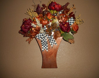 MacKenzie Child Courtly check ribbon on my Fall wall display