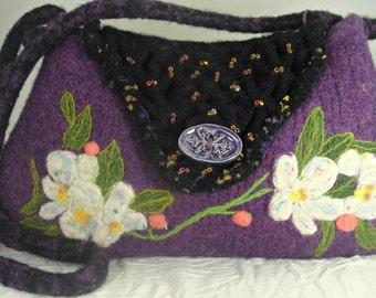 Felted purse, felted handbag, flower purse, needle felt flower